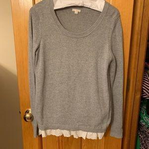 Gray Gap crewneck sweater with lace trim